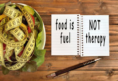 Food is fuel not therapy Royalty Free Stock Photos