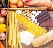 Food full of Carbohydrates Royalty Free Stock Photos