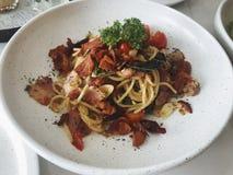 Food fusion. Spaghetti bacon royalty free stock photos