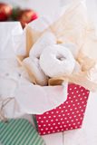 Food gift in a colorful box mini donuts Royalty Free Stock Photos