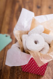 Food gift in a colorful box mini donuts Stock Photography