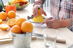 Food. Girl at the kitchen Stock Photography