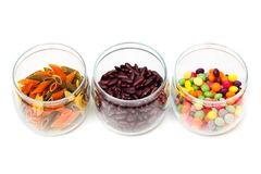 Food in glass jars Royalty Free Stock Photography