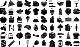 Food Glyph style Icon set. Con Set Name : Food, nStyle : Glyph,nIcons : 60,nThese icon made for 128*128 pixel perfect for print and web use even you can adjust stock illustration
