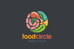 Food Gourmet Circle Logo Shop. Meat assortment Store Logotype Stock Photo