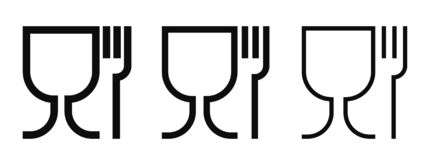 Food grade vector icons set. Food safe material wine glass and fork symbols. Food grade vector icons set. Food safe material wine glass and fork outline symbols stock illustration