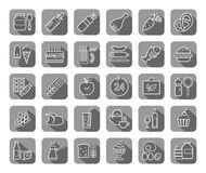 Food, gray, contour icons, vector. Food and drinks, production and sale. White line drawings on a gray field with a shadow. Vector clip art Royalty Free Stock Images