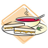 Food: Grilled Cheese and Tomato Soup. A plate with a grilled cheese sandwich and a bowl of tomato soup. High resolution JPG and vector EPS Stock Images