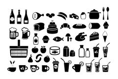 Food. Grocery. Icons set. Vector stock illustration isolated on white background. stock illustration