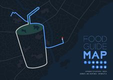 Food guide direction map travel with icon concept, Road drink glass with straw shape design in nighttime mode illustration. Isolated on grey background with royalty free illustration