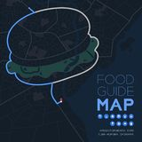 Food guide direction map travel with icon concept, Road hamburger shape design in nighttime mode illustration isolated on grey. Background with copy space vector illustration