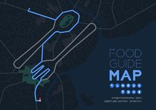 Food guide direction map travel with icon concept, Road Spoon and fork shape design in nighttime mode illustration isolated on. Grey background with copy space vector illustration