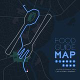 Food guide direction map travel with icon concept, Road Spoon and fork shape design in nighttime mode illustration isolated on. Grey background with copy space stock illustration