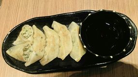 Food. Gyoza in the black dish Royalty Free Stock Photography
