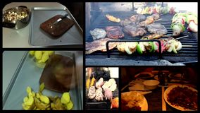 FOOD  gyros,kebab, pastry ,dinner,barbecue grill- time lapse multi screen Royalty Free Stock Images