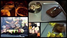 FOOD  gyros,kebab, pastry ,dinner,barbecue grill- time lapse multi screen Stock Photography