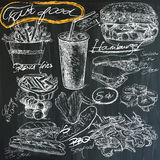Food - hand drawings on blackboard, pack Royalty Free Stock Photos