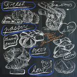 Food - hand drawings on blackboard, pack Stock Photography