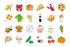 Food Hand Drawn Colored Vector Icons 2 Royalty Free Stock Images