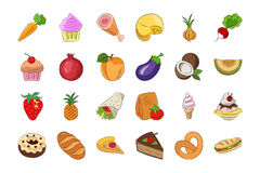 Food Hand Drawn Colored Vector Icons 3 Stock Photography