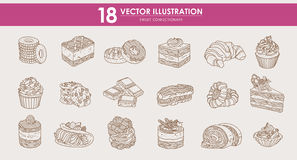 Food - HAND-DRAWN  illustrations set - Sweet food cakes Stock Photography