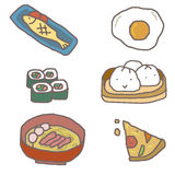 Food : hand drawn kids style Stock Images