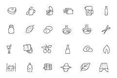 Food Hand Drawn Outline Vector Icons 11 Royalty Free Stock Photography