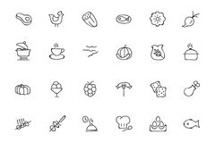 Food Hand Drawn Outline Vector Icons 7 Stock Images