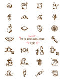 Food hand-drawn sketch line icons Fruits and drinks Stock Photo