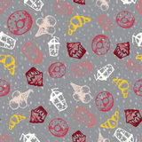Food hand-drawn sketch line icons seamless pattern on dark background Stock Images