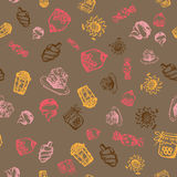 Food hand-drawn sketch line icons seamless pattern on dark background Stock Photography