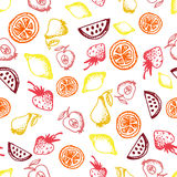 Food hand-drawn sketch line icons seamless pattern on white background. Food hand-drawn sketch line icons seamless pattern with fruit, apple, pear, lemon, orange vector illustration