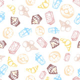 Food hand-drawn sketch line icons seamless pattern on white background Royalty Free Stock Image