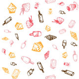 Food hand-drawn sketch line icons seamless pattern on white background Stock Photography