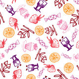 Food hand-drawn sketch line icons seamless pattern on white background Royalty Free Stock Photos