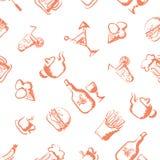 Food hand-drawn stylized seamless pattern Royalty Free Stock Image