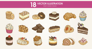 Food - HAND-DRAWN vector illustrations set - Sweet food cakes Stock Images