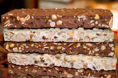 Food, handmade chocolate bars. With nuts and almonds Royalty Free Stock Image