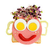 Food head. Head made by foods for kids on white background Stock Photos
