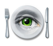 Food Health Inspection. And quality control for restaurants and kitchen meal preparation services as a plate fork and knife and a human eye looking out for the Royalty Free Stock Images