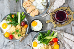 Food, healthy Breakfast, porridge, eggs, vegetables, sandwiches with caviar Royalty Free Stock Photography