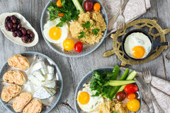 Food, healthy Breakfast, porridge, eggs, vegetables, sandwiches with caviar Royalty Free Stock Image