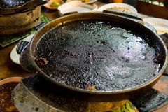 Food and healthy concept. dirty burned flat pan. High chance to be cancer Royalty Free Stock Photo