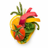 Food for heart. A healthy human heart made of fruits and vegetables as a food concept of smart eating Stock Images