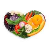 Food for heart. Healthy food concept of a human heart made of vegetable and fruit mix that reduce death risk, isolated on white royalty free stock images