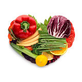 Food for heart. Healthy food concept of a human heart made of vegetable mix that reduce death risk, isolated on white royalty free stock photography