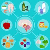 Food helpful for healthy brain Stock Image