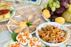 Food on the holiday table Royalty Free Stock Photo