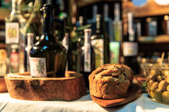 Food. Homemade bread, olives and olive oil Royalty Free Stock Images