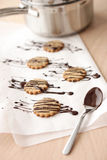 Food: Homemade chocolate covered oatmeal cookies Stock Photos